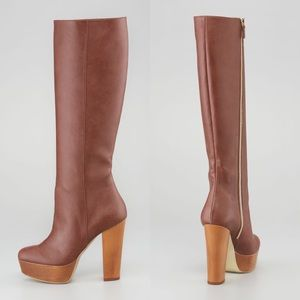 Stella McCartney Wood Platform Faux Leather Boots